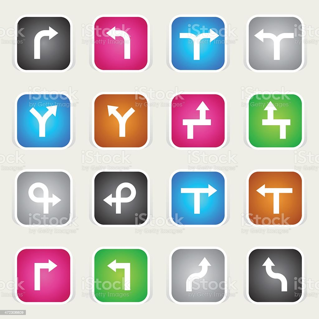 Multicolor Icons - GPS Navigation Arrows royalty-free stock vector art