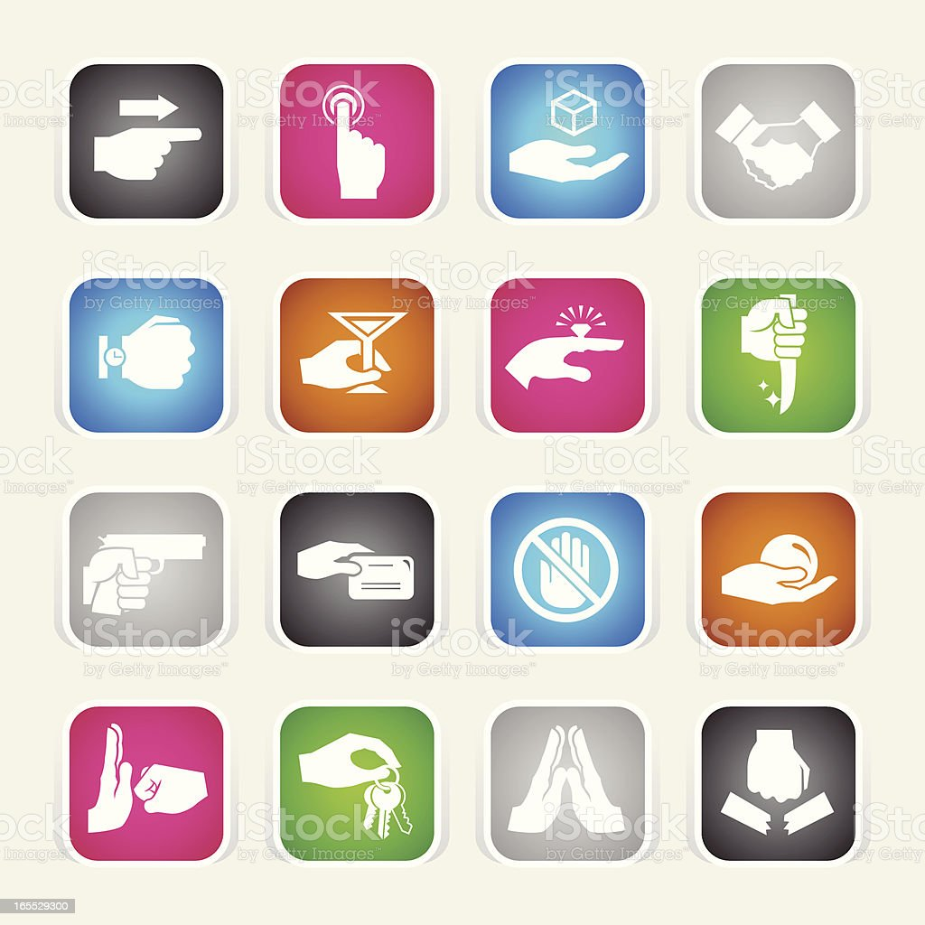Multicolor Icons - Hands vector art illustration