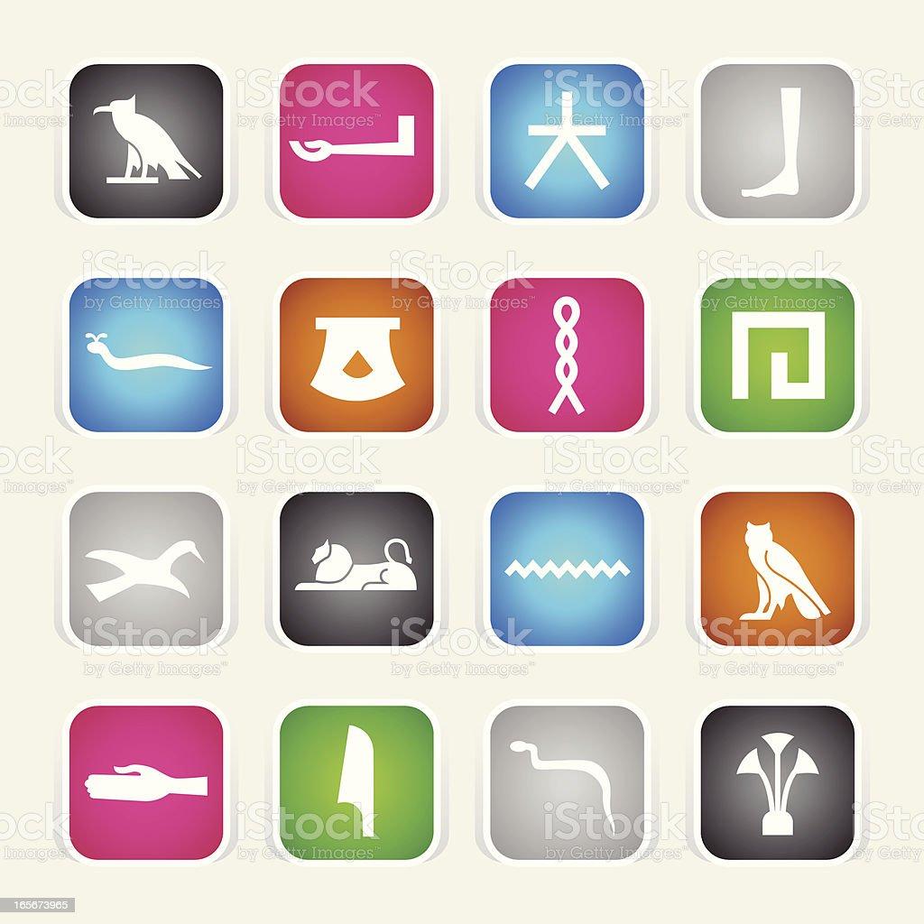 Multicolor Icons - Hieroglyphics royalty-free stock vector art