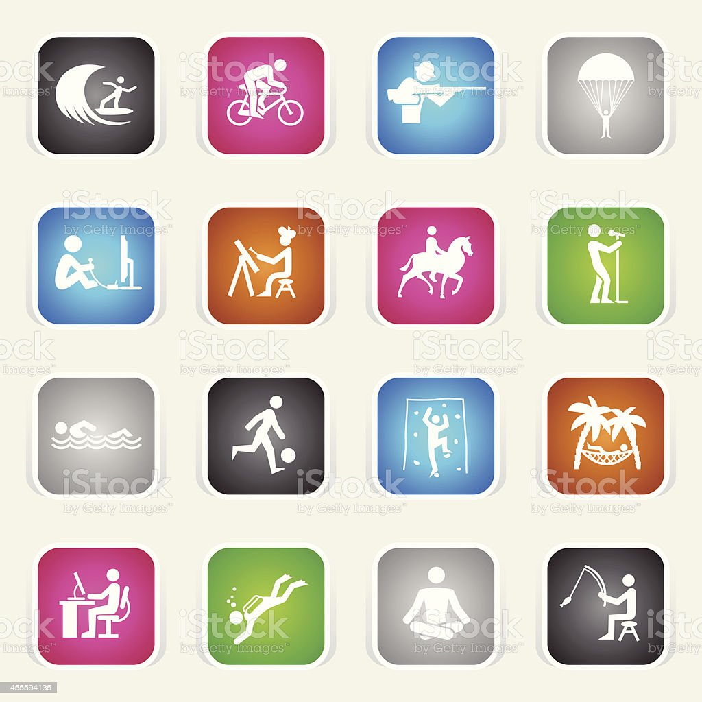 Multicolor Icons - Hobbies royalty-free stock vector art