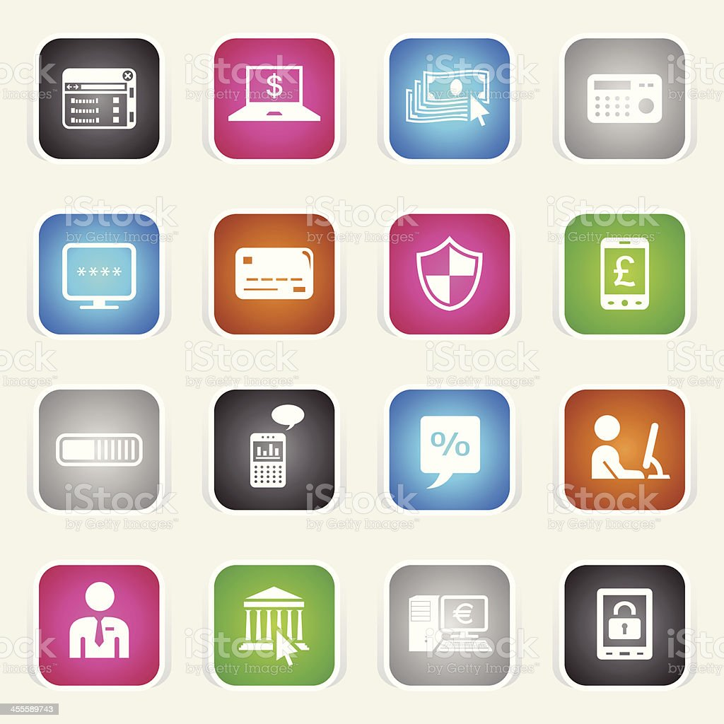 Multicolor Icons - Home Banking royalty-free stock vector art