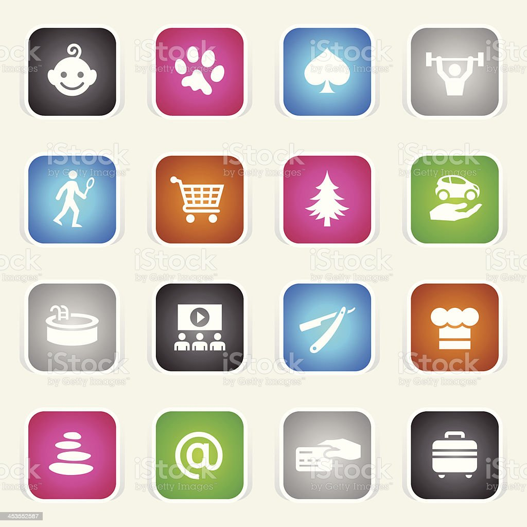 Multicolor Icons - Hotel Amenities royalty-free stock vector art