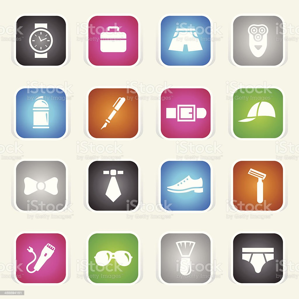 Multicolor Icons - Man's Accessories vector art illustration