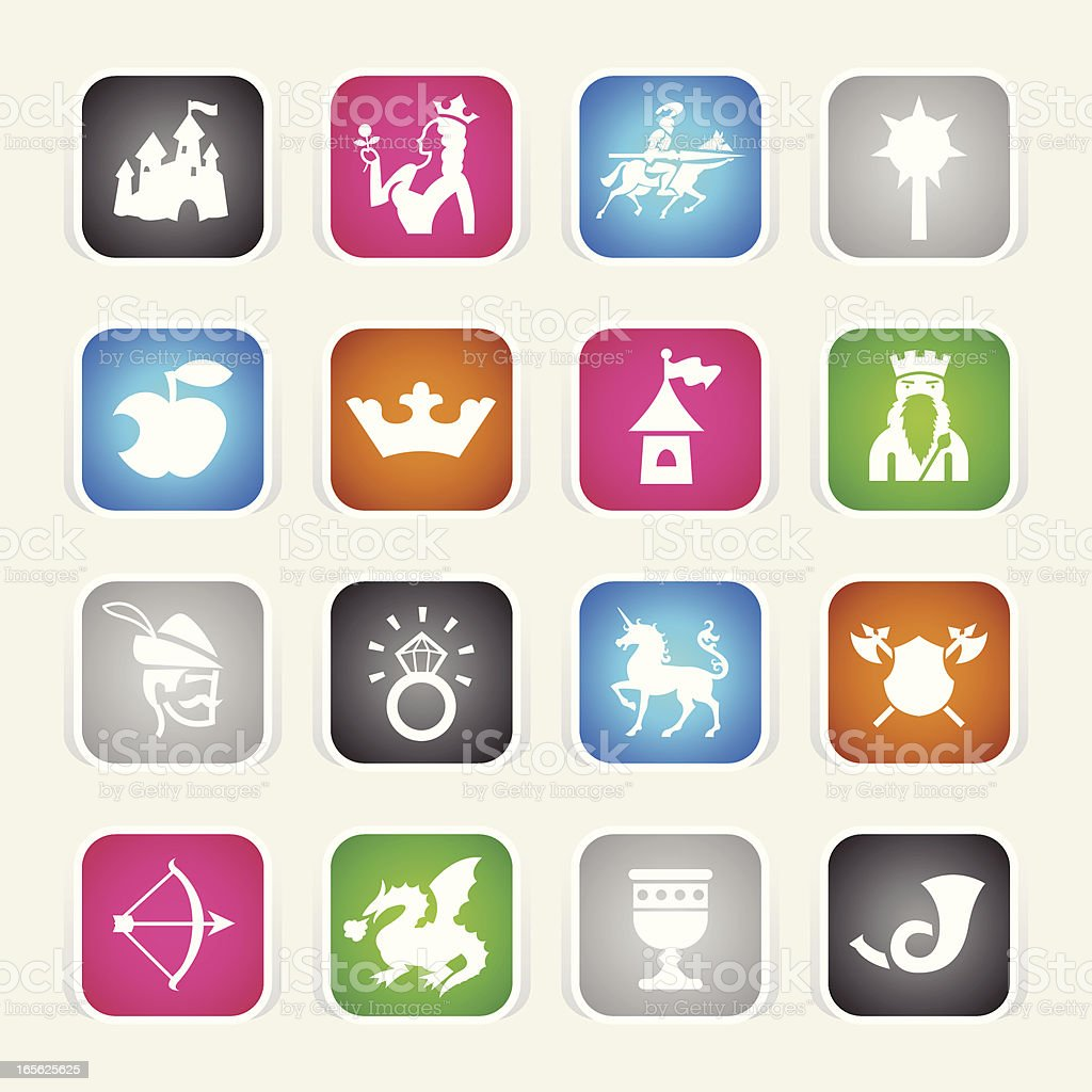 Multicolor Icons - Medieval Fairytale royalty-free stock vector art