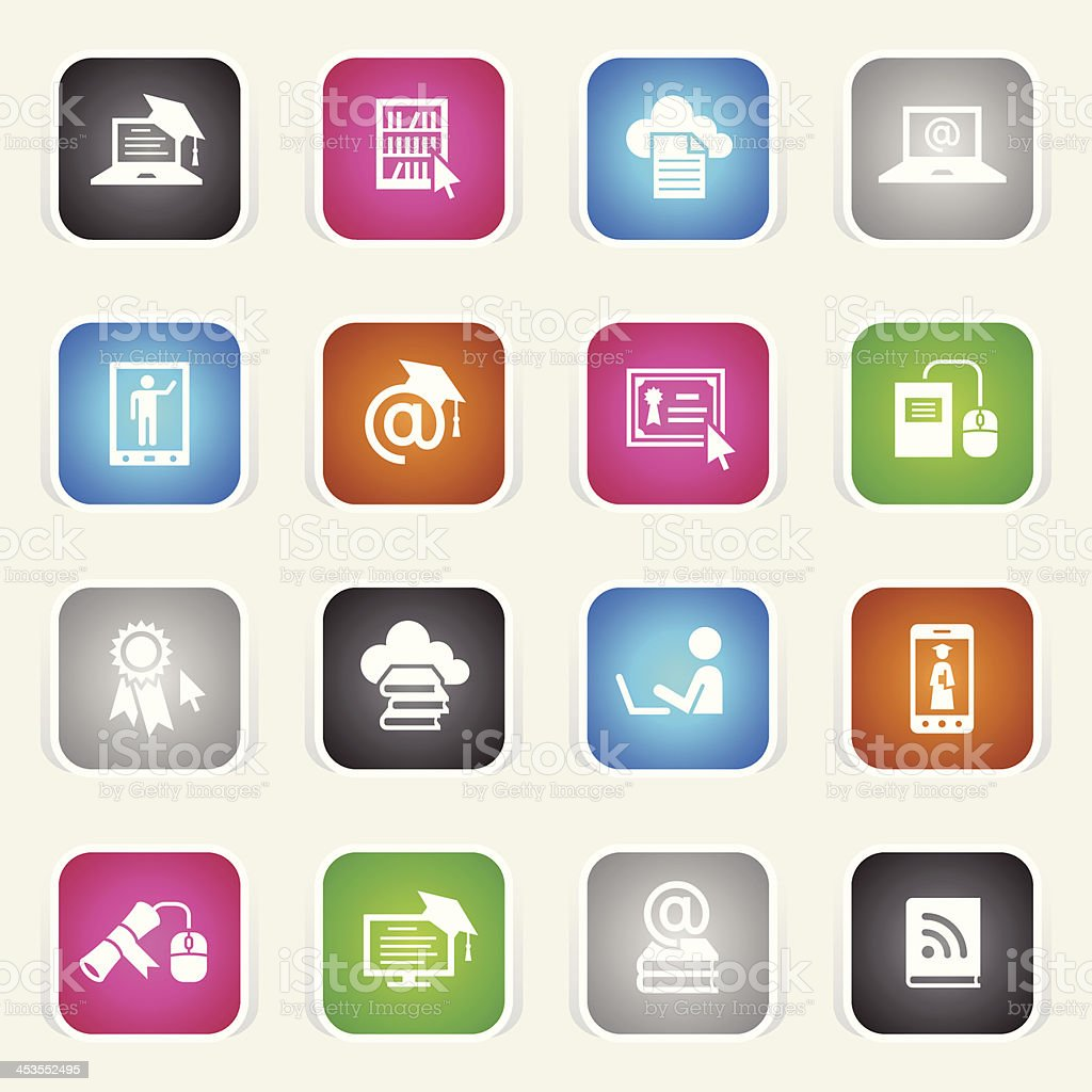 Multicolor Icons - Online Education royalty-free stock vector art