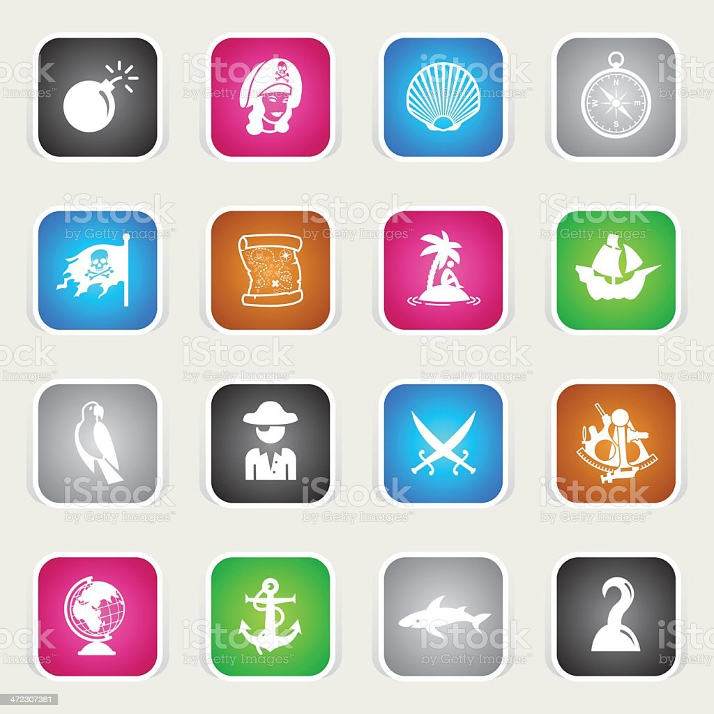 Multicolor Icons - Pirates vector art illustration