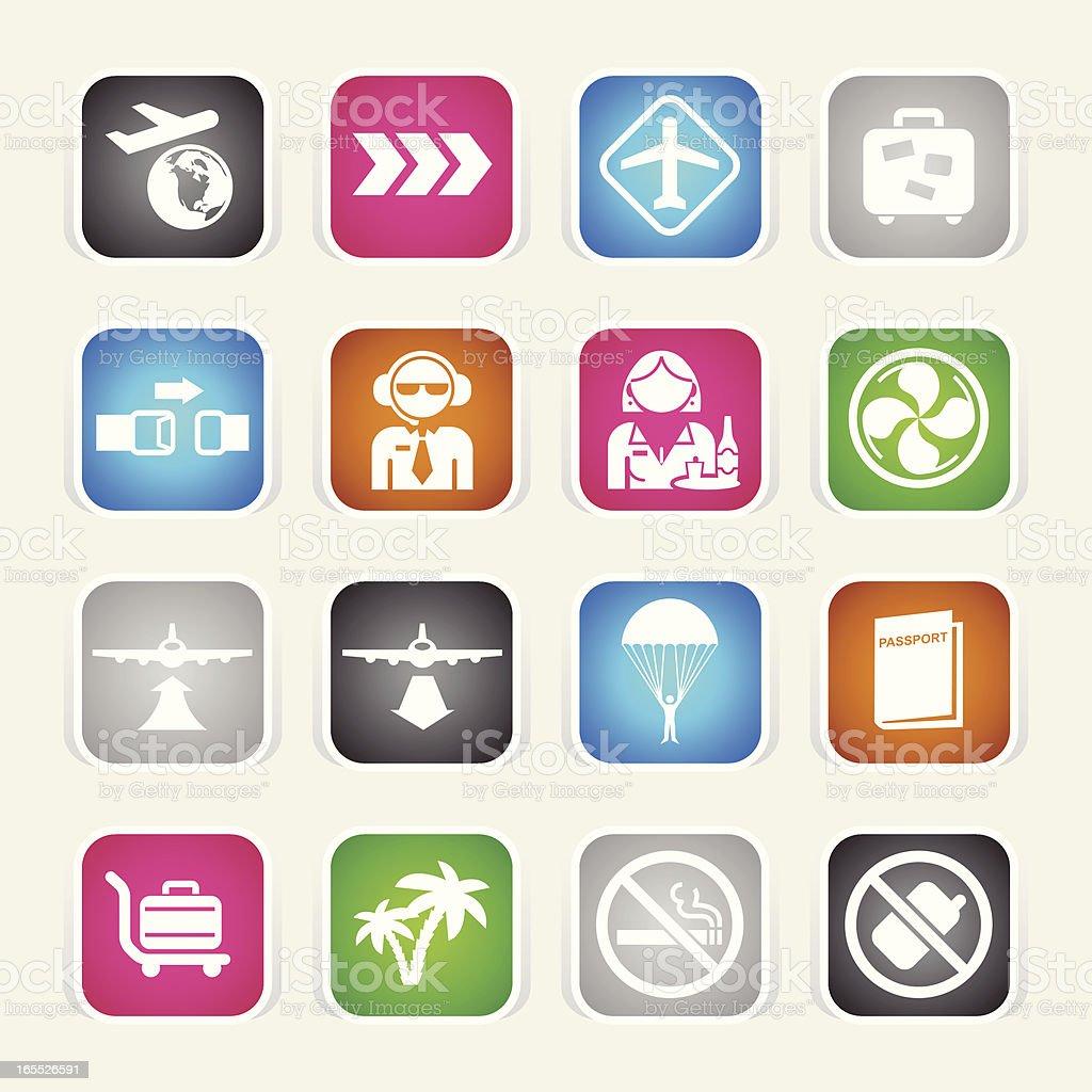 Multicolor Icons - Plane Travel vector art illustration