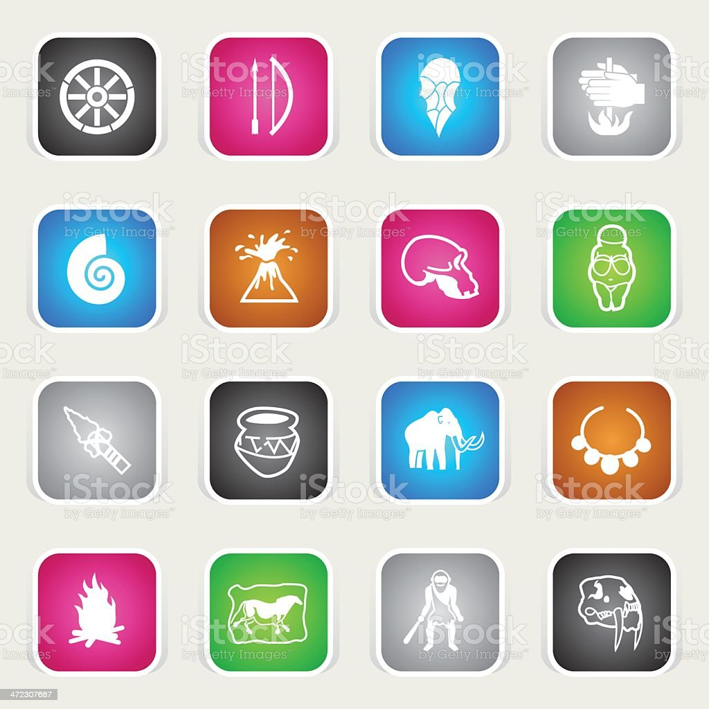 Multicolor Icons - Prehistory royalty-free stock vector art