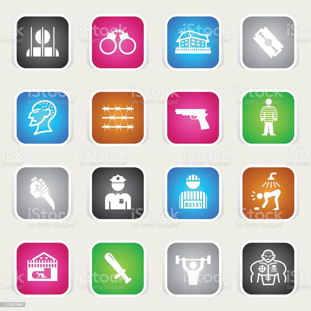 Multicolor Icons - Prison royalty-free stock vector art