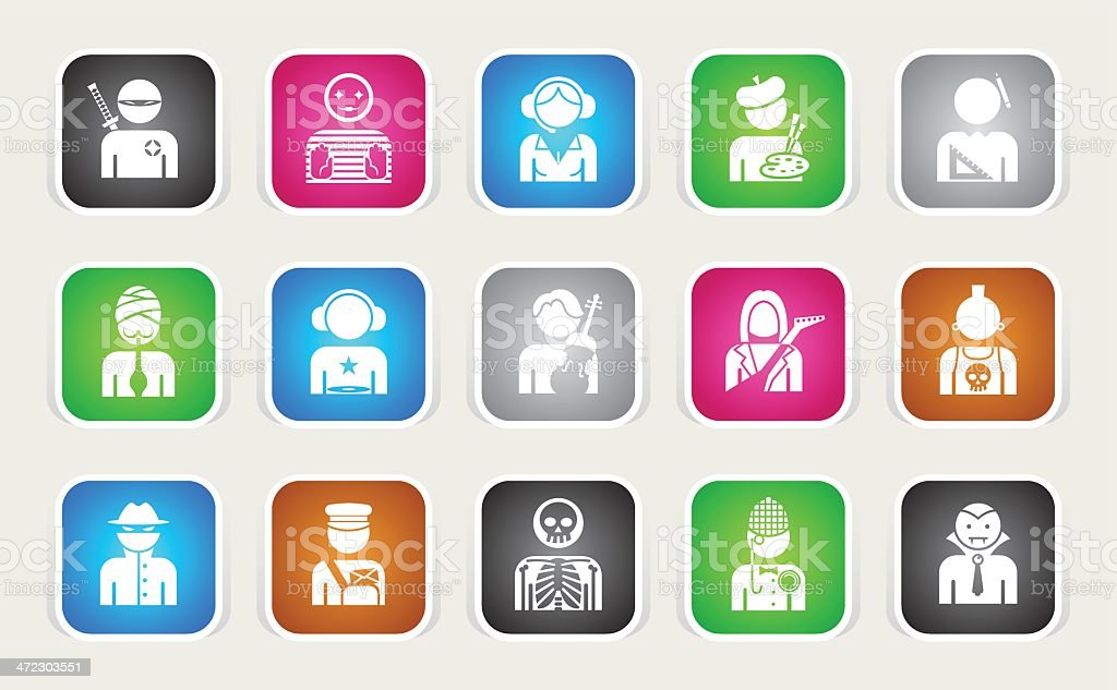 Multicolor Icons - Professions vector art illustration