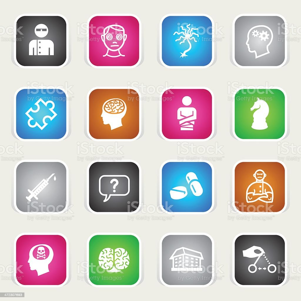 Multicolor Icons - Psychology & Psychiatry royalty-free stock vector art