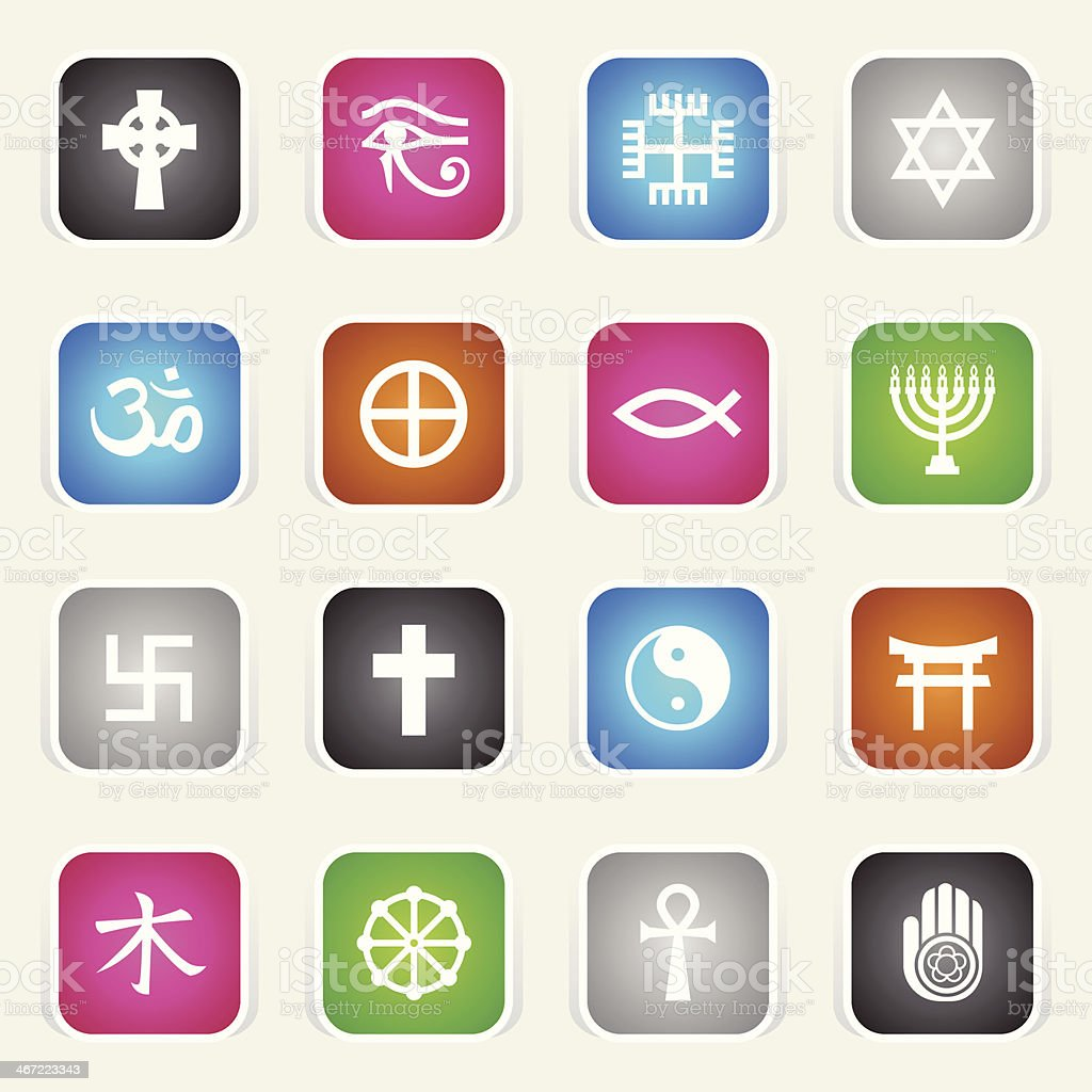 Multicolor Icons - Religious Symbols vector art illustration