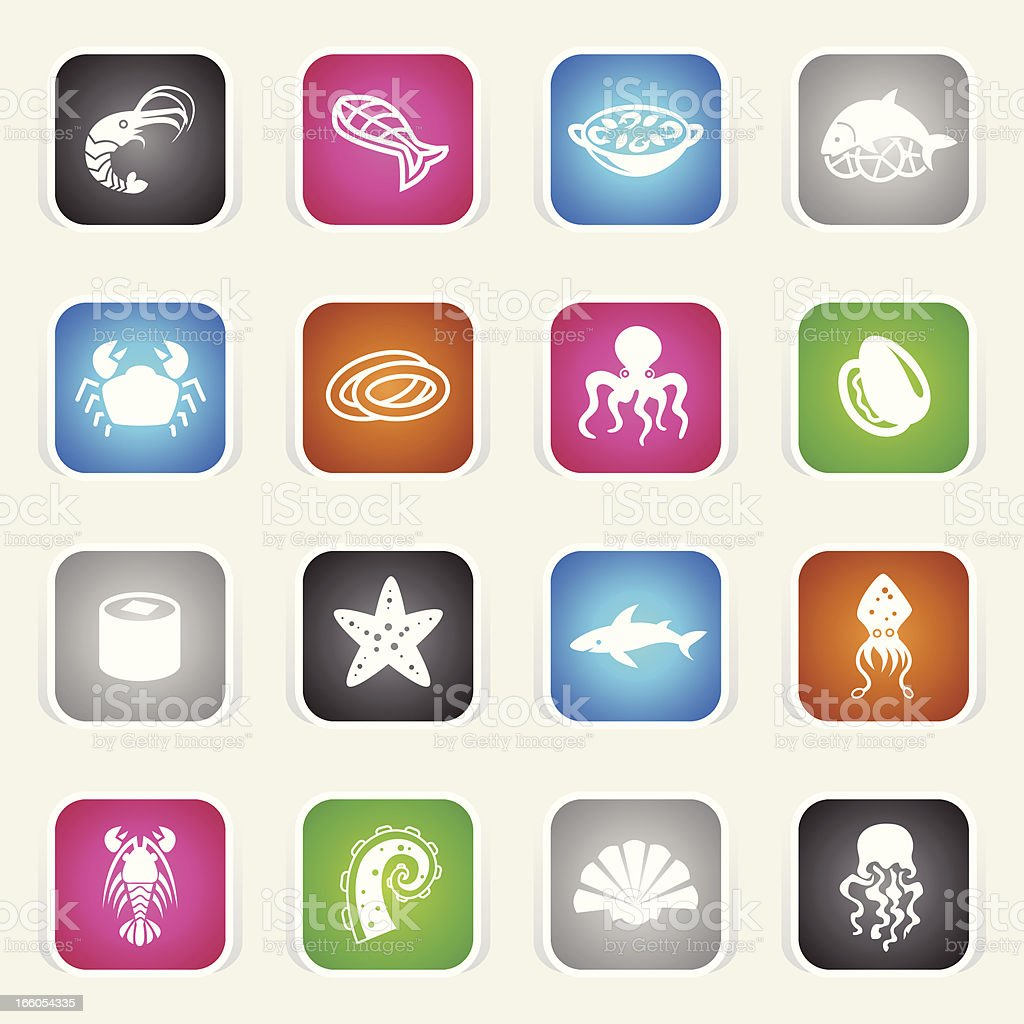 Multicolor Icons - Seafood vector art illustration
