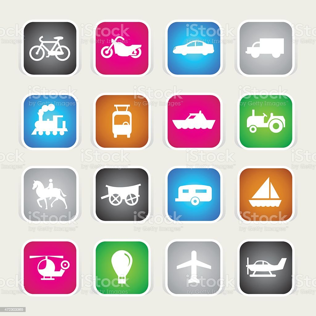 Multicolor Icons - Transportation royalty-free stock vector art