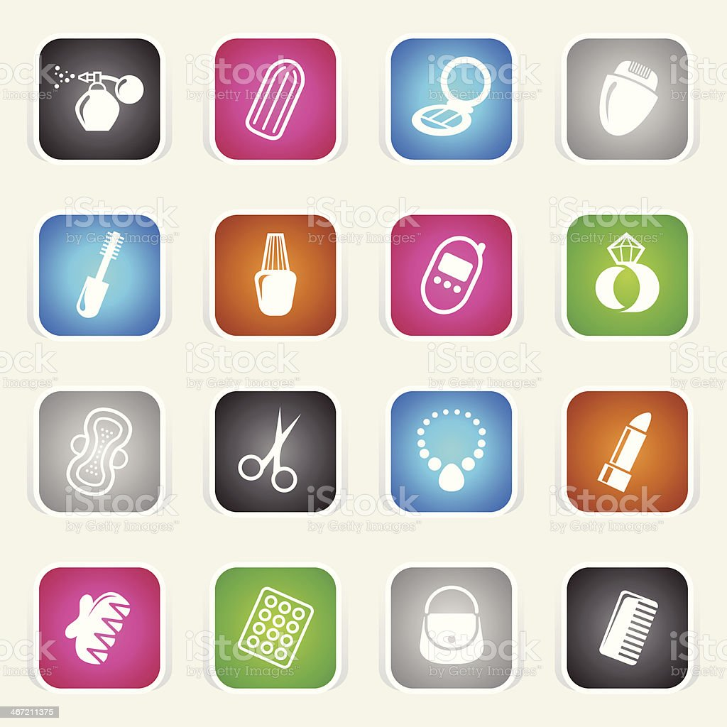 Multicolor Icons - Woman's Accessories royalty-free stock vector art