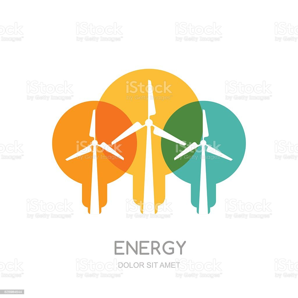 Multicolor light bulbs and wind turbines silhouettes, isolated symbol. vector art illustration
