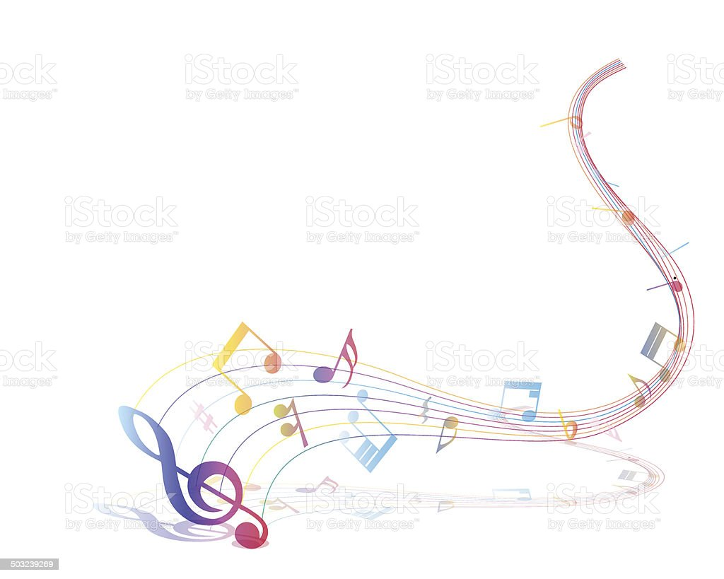 Multicolor musical note staff vector art illustration