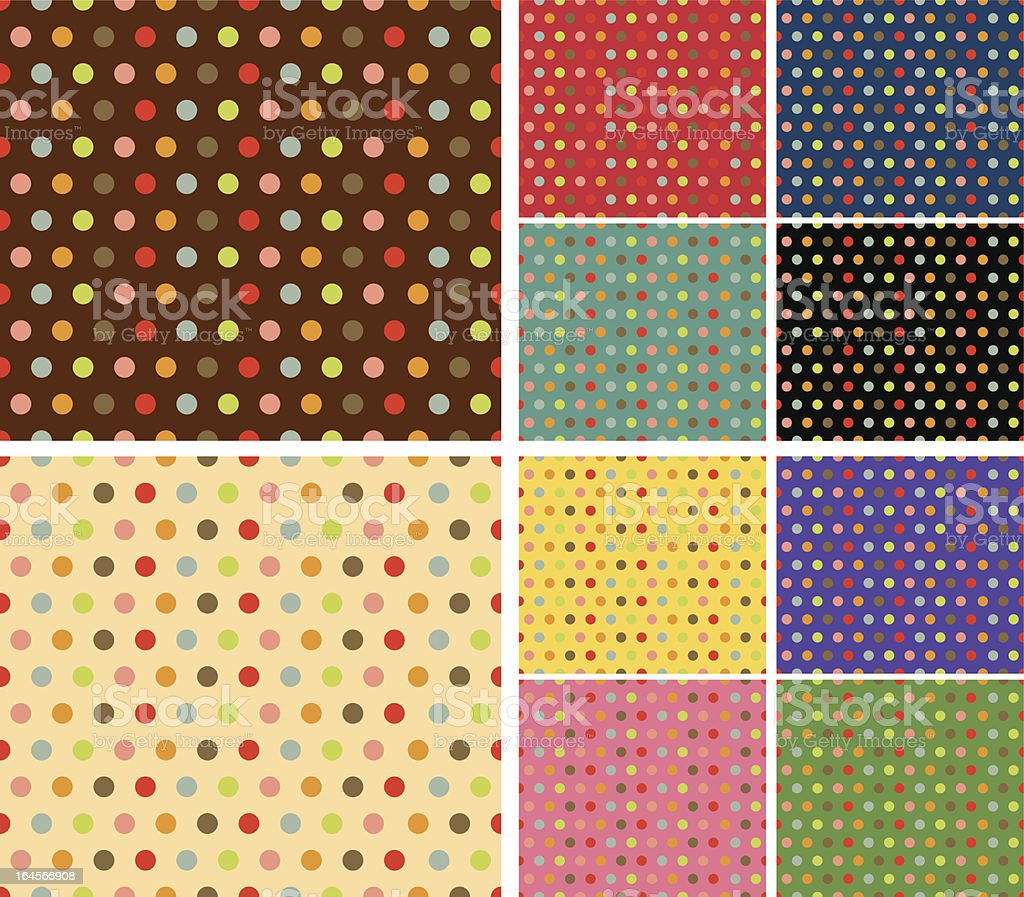 Multicolor retro pattern set royalty-free stock vector art