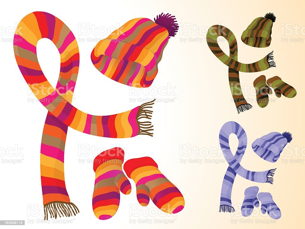Multicolor scarves, hats and mitts vector art illustration