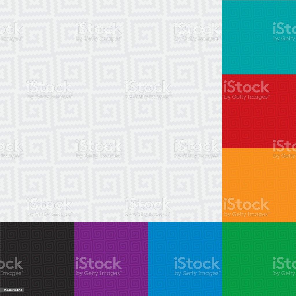 Multicolor Set of Neutral Seamless Meander Wallpaper Pattern. vector art illustration