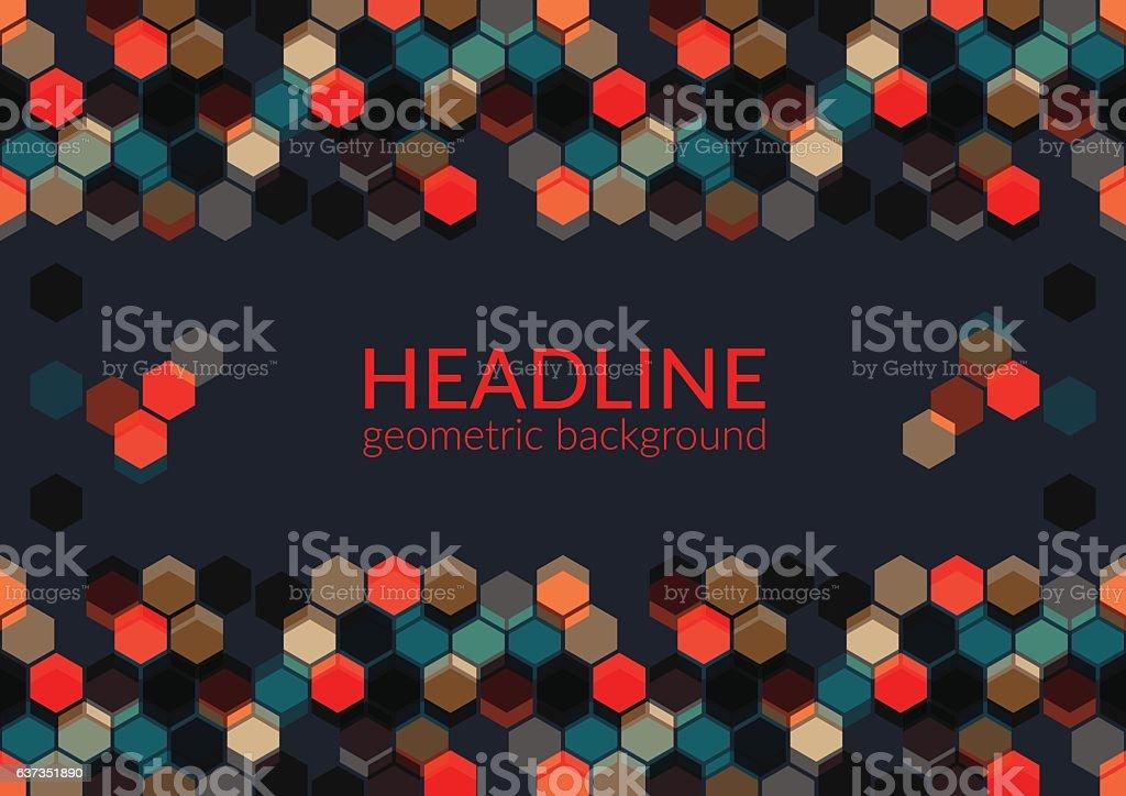 Multicolor trendy horizontal geometric background, vector art illustration