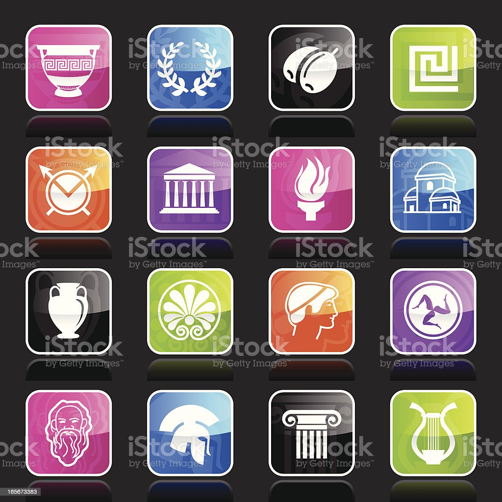 Multicolor Ubergloss Icons -  Greece royalty-free stock vector art