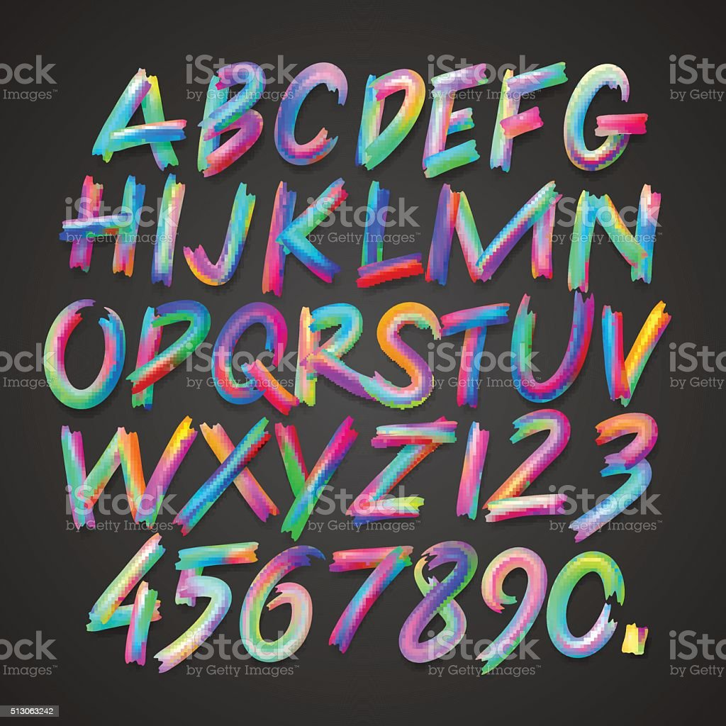 Multicolored art alphabet and numbers vector art illustration