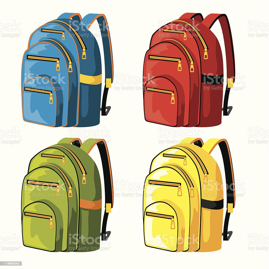 Multi-colored backpacks presented in a Warhol inspired style royalty-free stock vector art