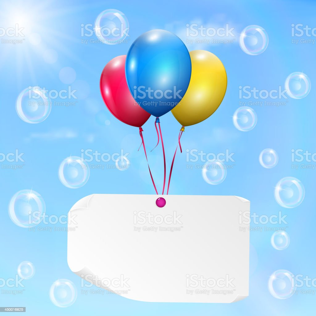 Multi colored cardstock paper - Multicolored Balloons With Paper Card Royalty Free Stock Vector Art
