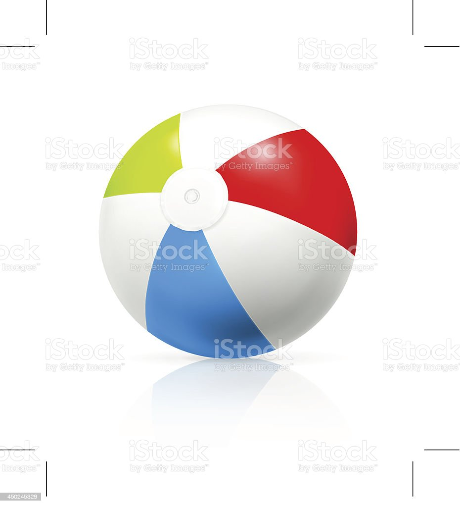 A multicolored beach ball on a white background  vector art illustration