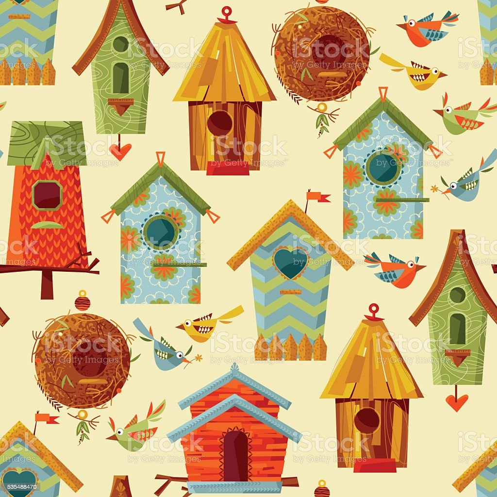 Multi-colored birdhouses and birds. Seamless background pattern. vector art illustration