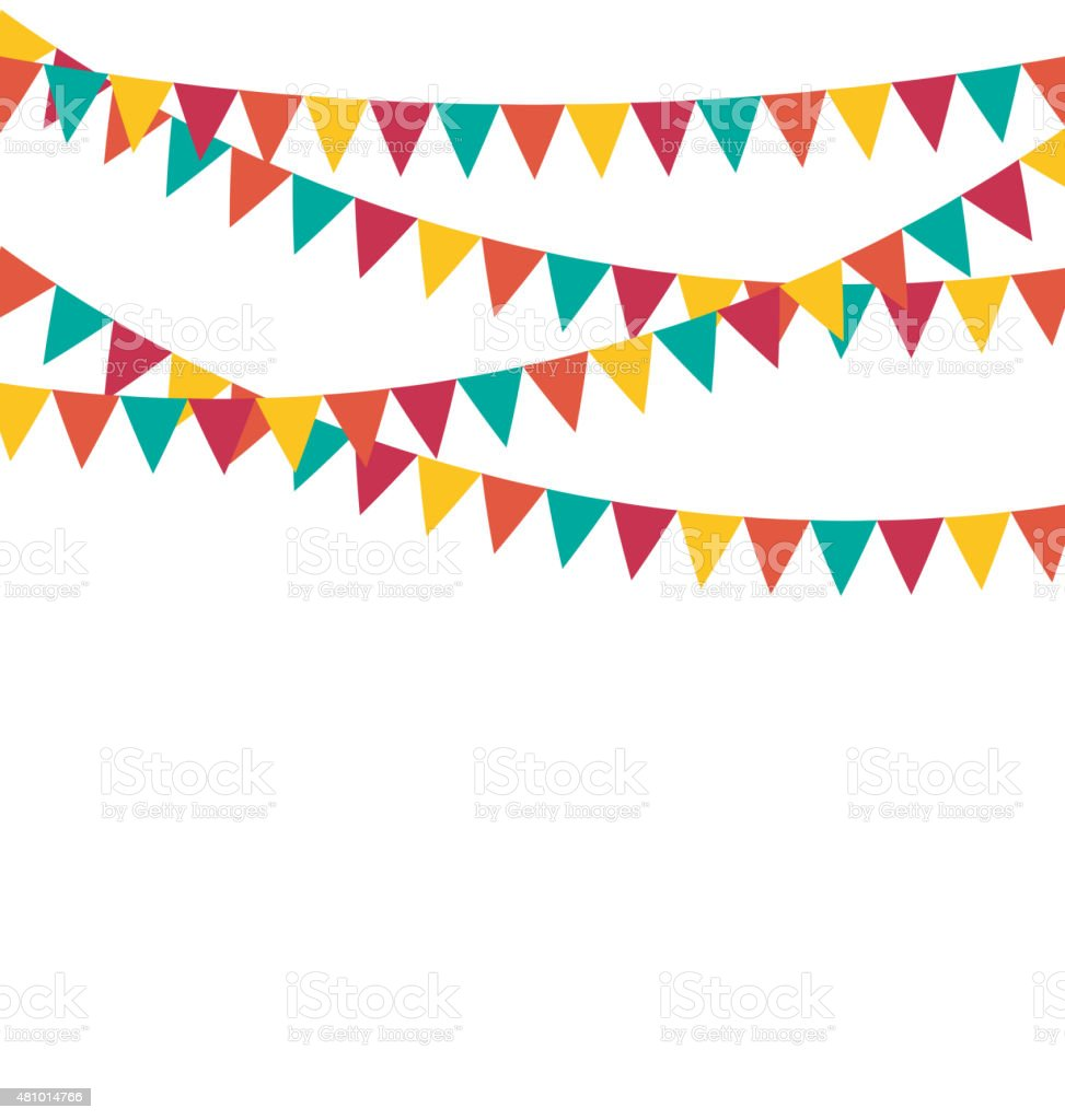 Multicolored bright buntings flags garlands isolated on white vector art illustration