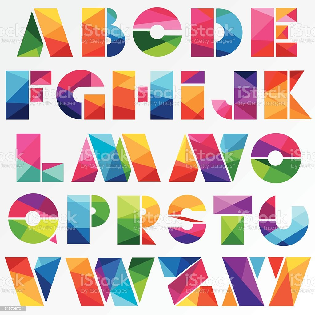 multicolored bright low poly style alphabet letters vector art illustration