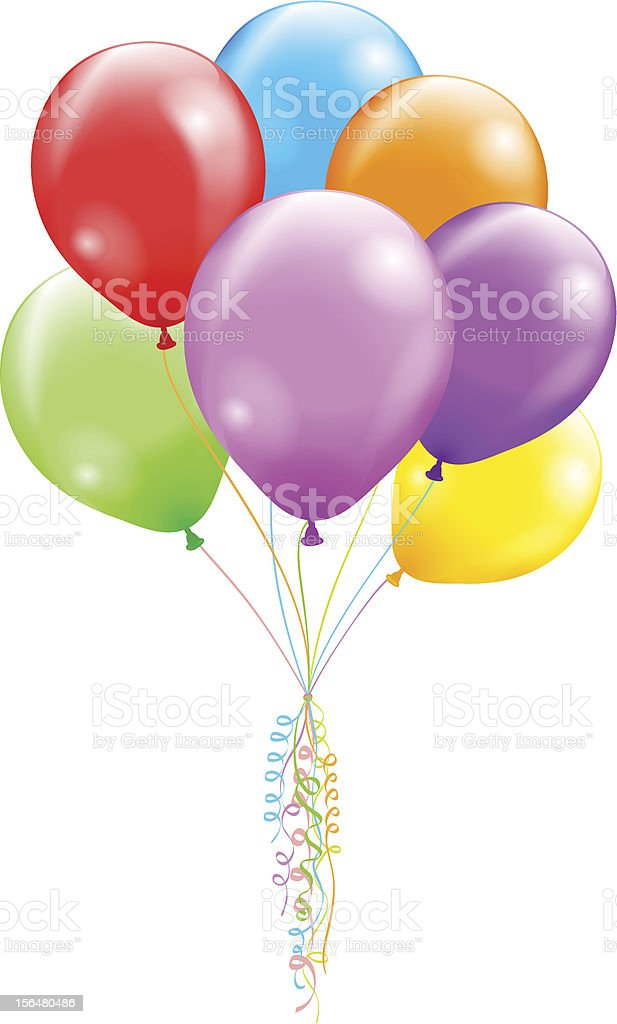 Multi-colored bunch of balloons tied with curled ribbon vector art illustration