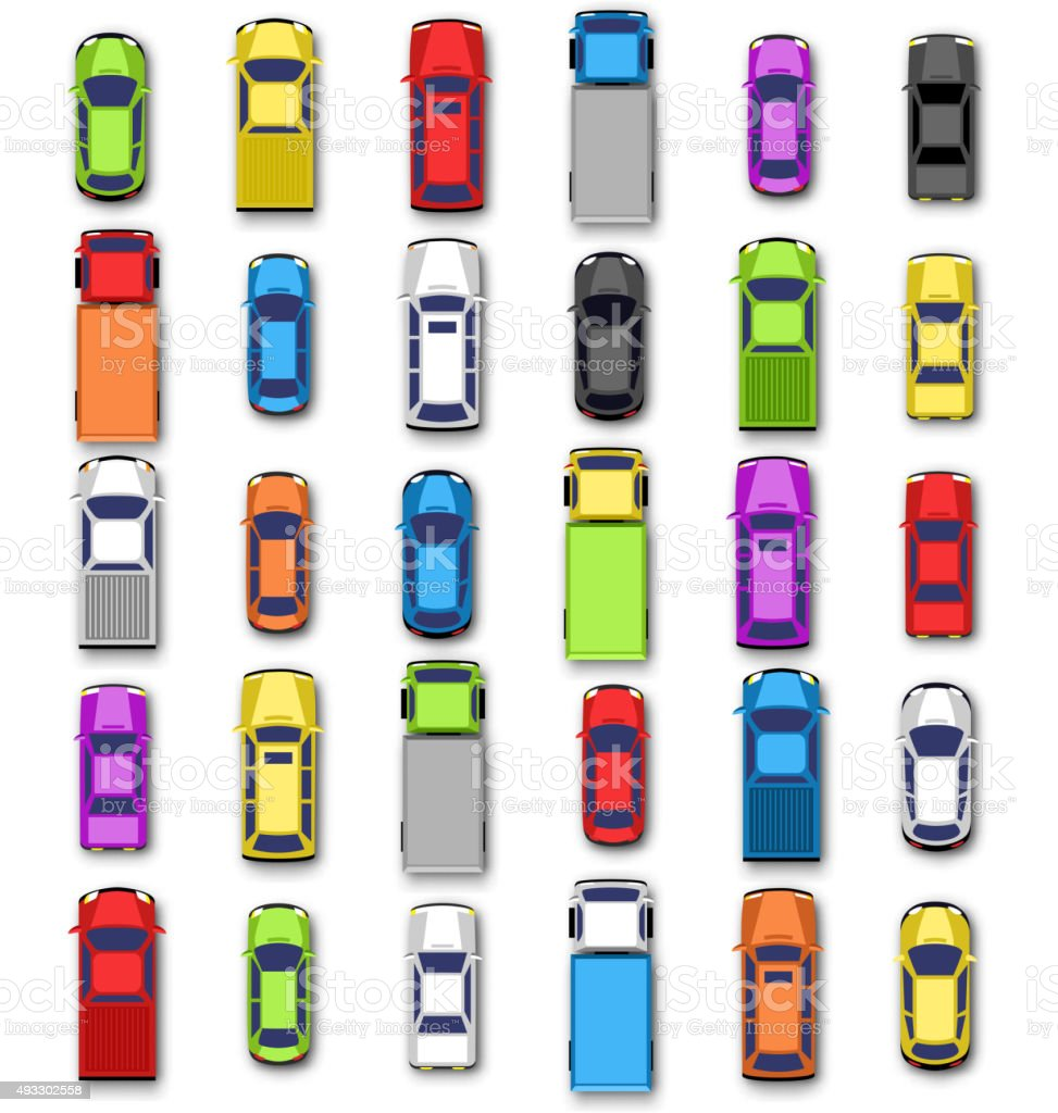 Multicolored car collection with shadow isolated on white vector art illustration