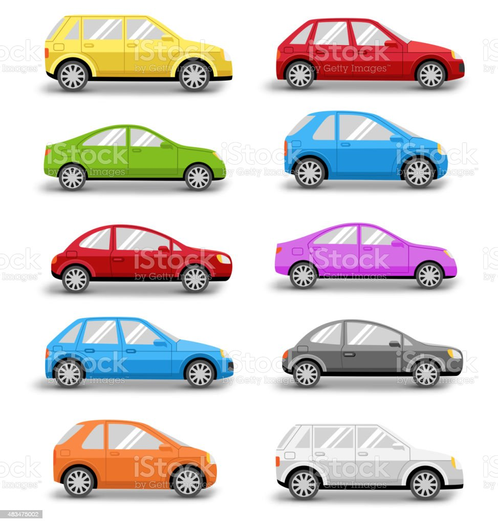 Multicolored Cars Collection with Shadow Isolated on White vector art illustration
