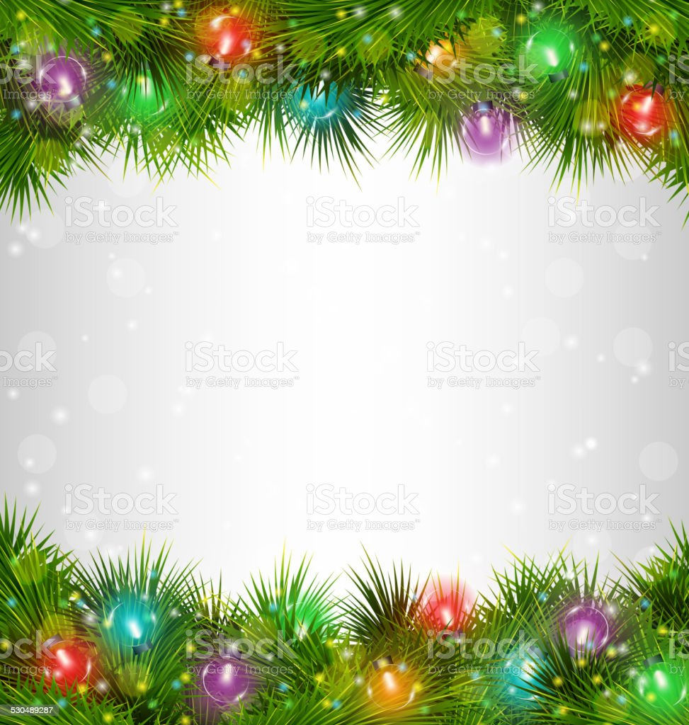 Pine Branches For Decoration Multicolored Christmas Lights On Pine Branches On Grayscale Stock