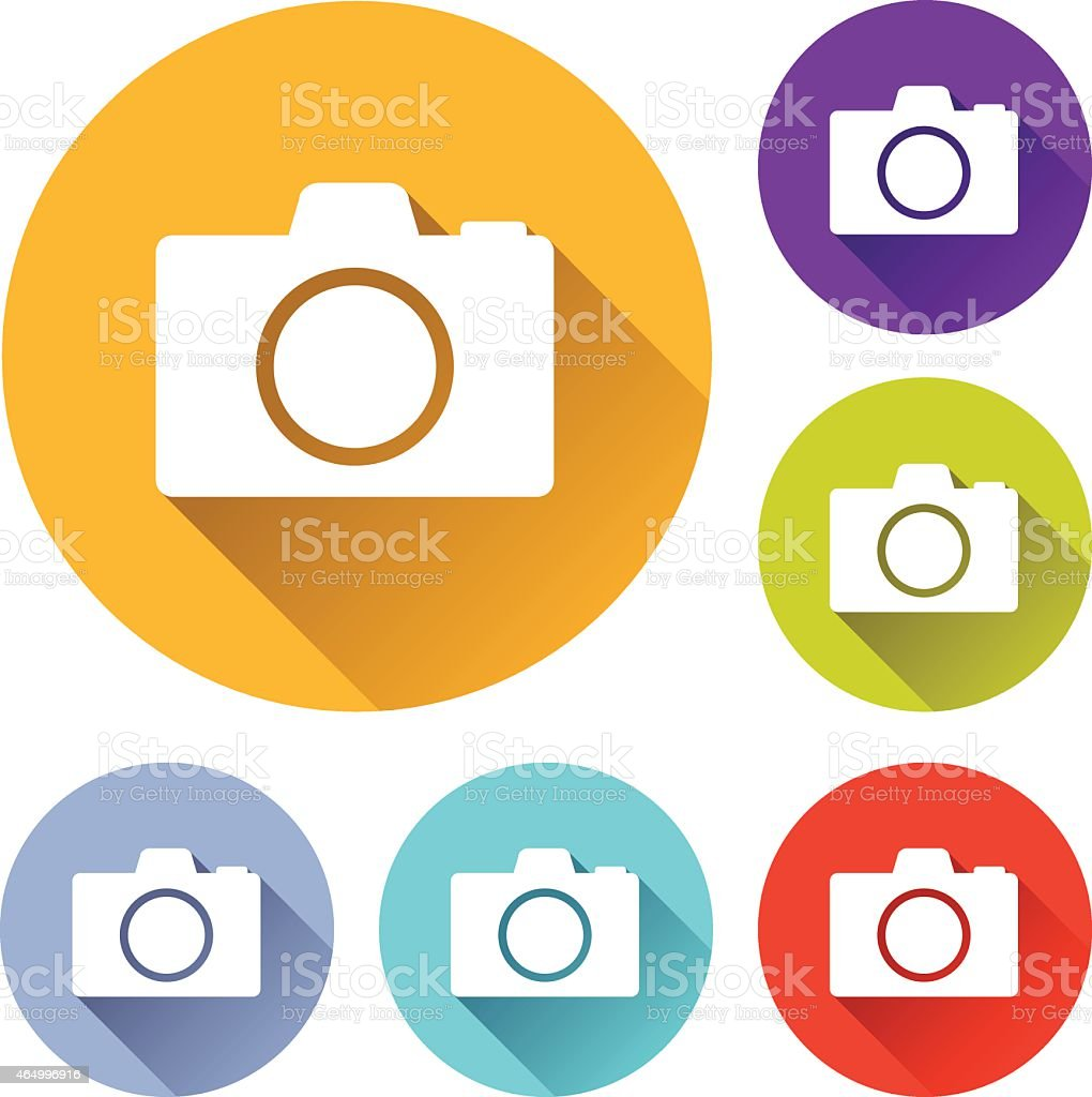 Multicolored circles with camera icons in them vector art illustration