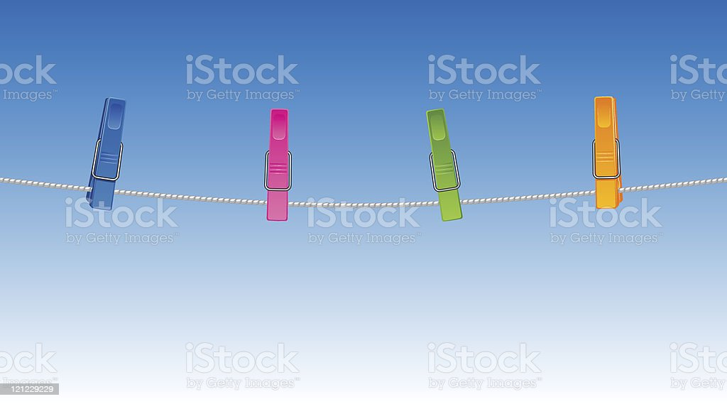 Multicolored clothes pin clipped to a clothesline vector art illustration
