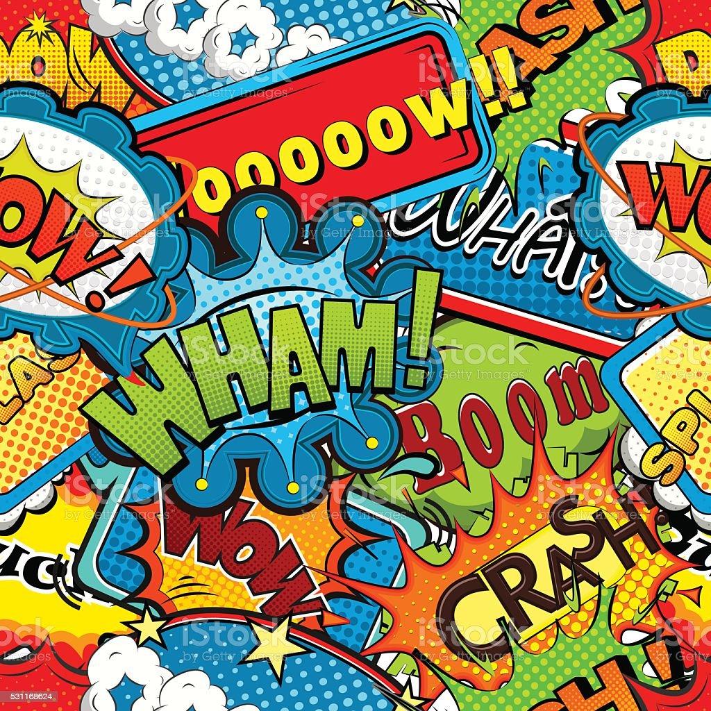 Multicolored comics speech bubbles seamless pattern vector illustration vector art illustration