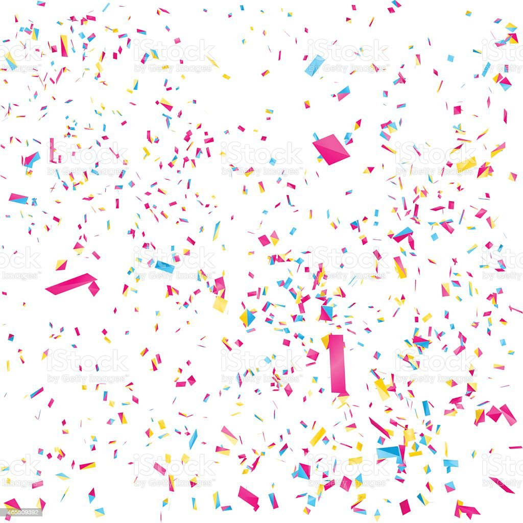 Multicolored confetti against a white background vector art illustration