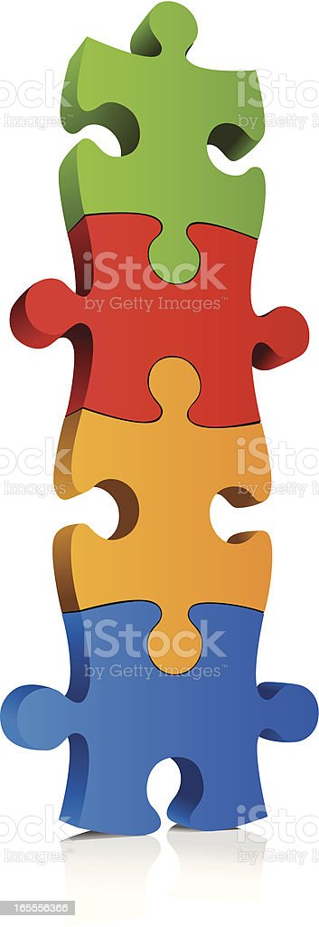 Multi-colored, connected jigsaw puzzle pieces royalty-free stock vector art