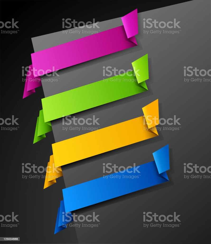 Multicolored Corner Paper Tags with Shadows royalty-free stock vector art