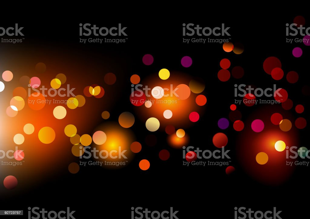 Multicolored dots against a black background vector art illustration