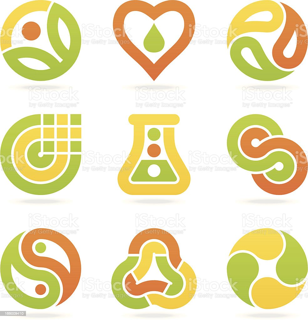 multicolored eco symbols vector art illustration