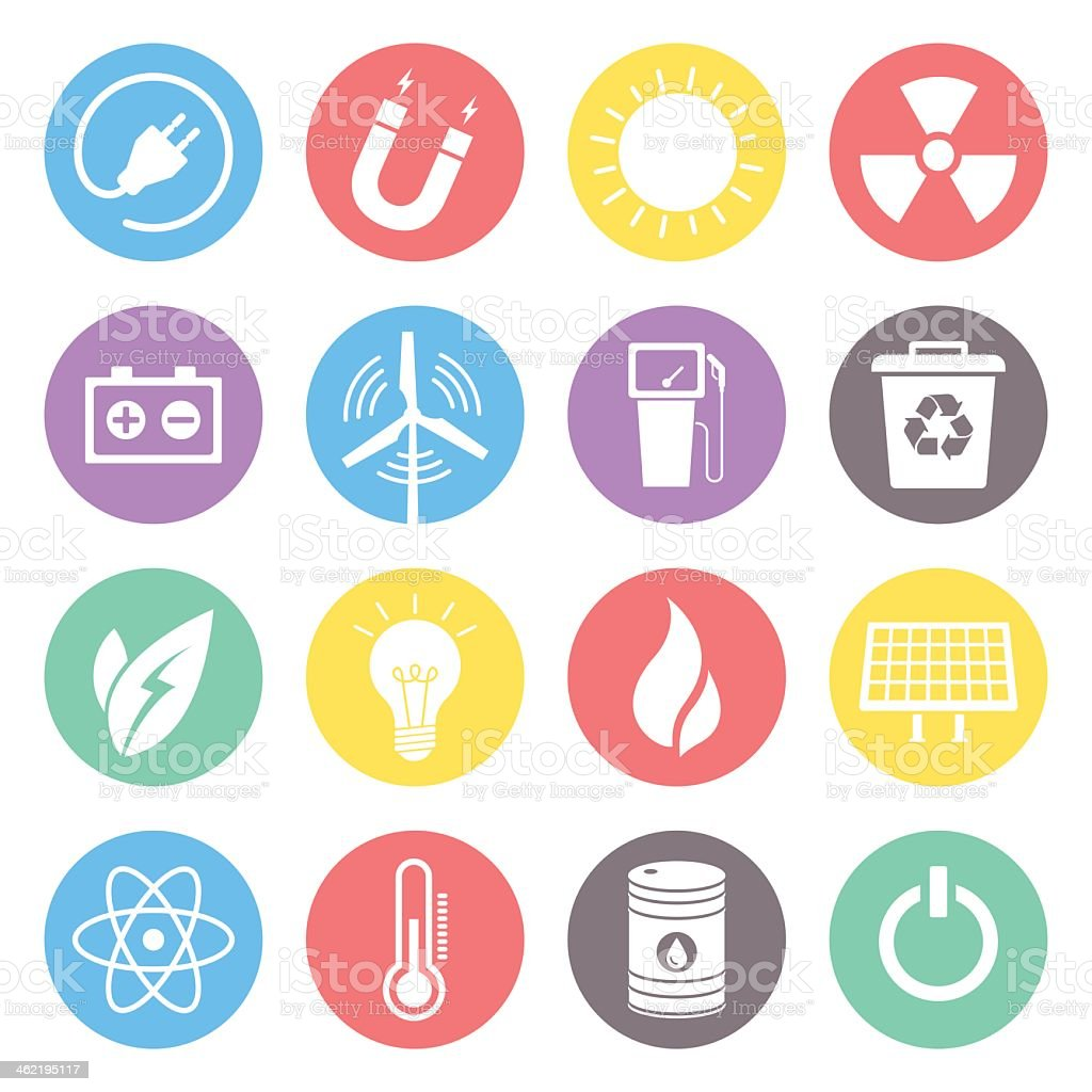 Multicolored energy icons on white background vector art illustration