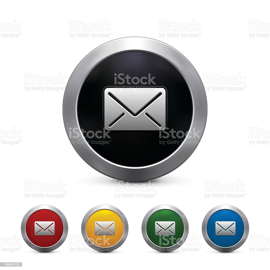 Multicolored envelope icons with large black above others royalty-free stock vector art