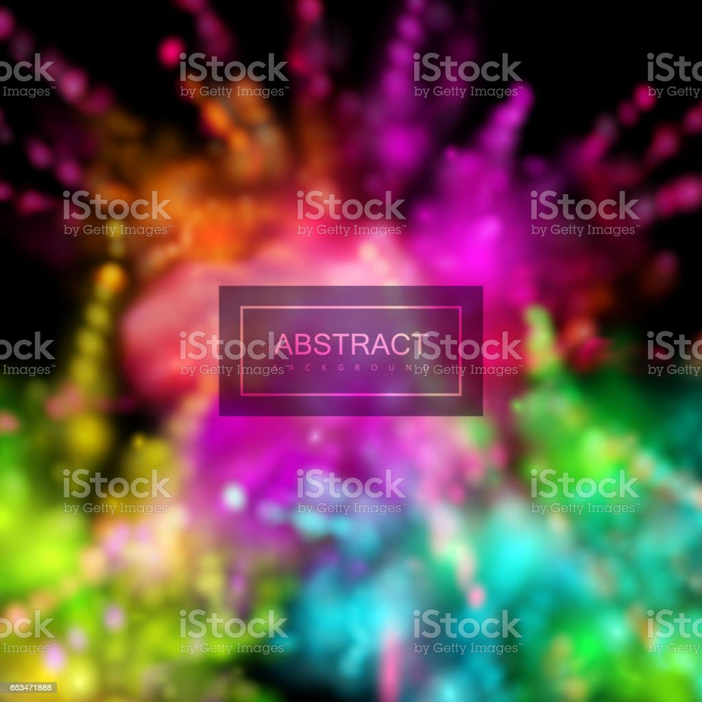 Multicolored explosive clouds of powder dye. vector art illustration
