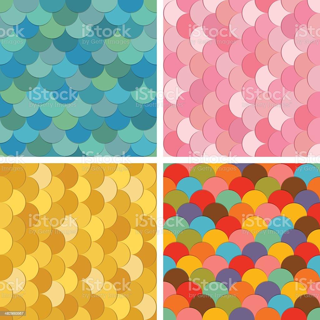 Multicolored fish scale seamless pattern set vector art illustration