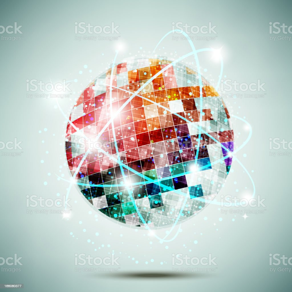 Multicolored globe with connecting lines royalty-free stock vector art